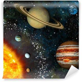 Papier Peint Vinyle Réaliste affichage Système Solaire contient le Soleil et les neuf planètes