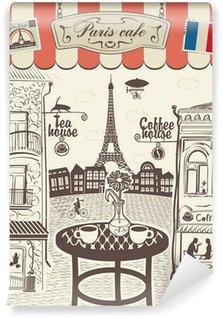 Papier Peint Vinyle Restaurant rue parisienne avec vue sur la Tour Eiffel