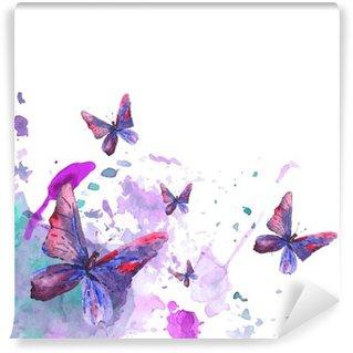 Papier Peint Vinyle Résumé de fond d'aquarelle avec des papillons