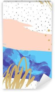 Papier Peint Vinyle Résumé impression avec géométriques colorés éléments / points sur fond gribouillis. peinture créative imprimé graphique Pastel pour la carte, affiche, bannière, flyer