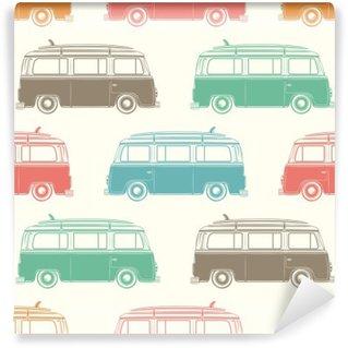 Papier Peint Vinyle Retro camping car avec le conseil de surf. Seamless.
