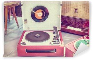 Papier Peint Vinyle Rétro image de style d'un vieux tourne-disque