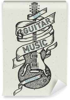 Papier Peint Vinyle Retro print for rock guitar music festival