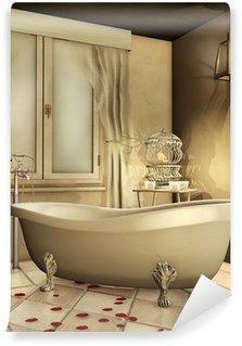 Papier Peint Vinyle Rétro salle de bain avec cage canari