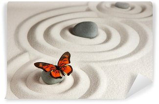Papier Peint Vinyle Roches zen avec papillon
