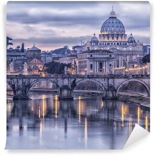 Papier Peint Vinyle Rome et le Tibre au crépuscule