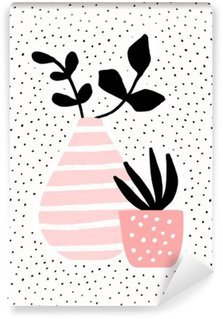 Papier Peint Vinyle Rose Vase et Pot avec des plantes