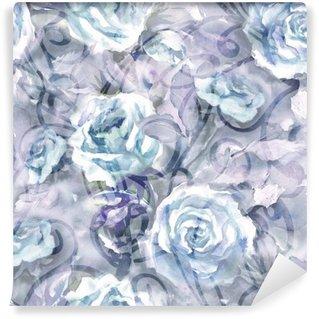 Papier Peint Vinyle Roses Seamless Pattern