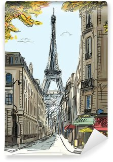 Papier Peint Vinyle Rue de Paris - illustration