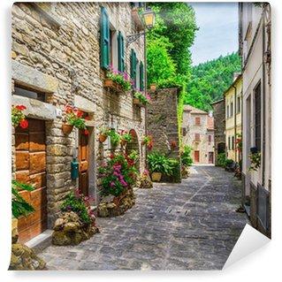 Papier Peint Vinyle Rue italienne dans une petite ville de province de Toscane