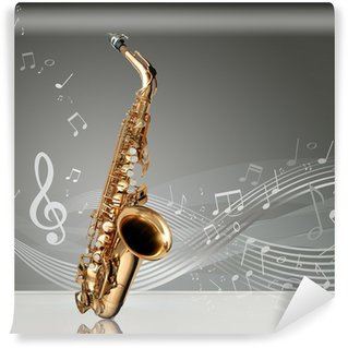 Papier Peint Vinyle Saxophone avec des notes de musique