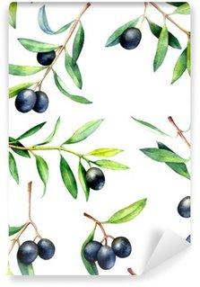 Papier Peint Vinyle Seamless avec des branches d'olivier. Hand drawn illustration d'aquarelle.