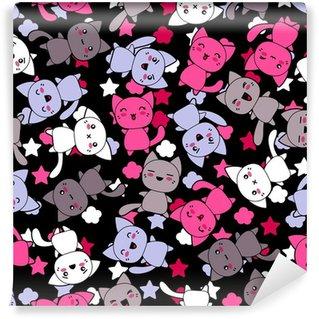 Papier Peint Vinyle Seamless avec des chats mignons doodle kawaii.