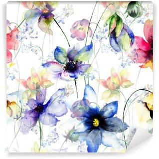 Papier Peint Vinyle Seamless avec des fleurs décoratives d'été