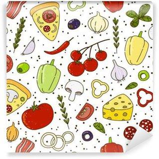 Papier Peint Vinyle Seamless avec leurs ingrédients de pizza