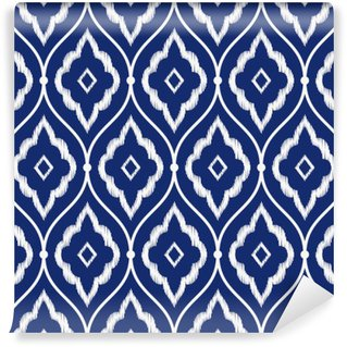 Papier Peint Vinyle Seamless bleu indigo et blanc cru motif ikat persan