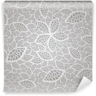 Papier Peint Vinyle Seamless dentelle de feuilles d'argent motif de papier peint