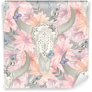 Papier Peint Vinyle Seamless ethnique. Crâne taureau dans les fleurs