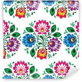Papier Peint Vinyle Seamless floral traditionnel de la Pologne sur fond blanc