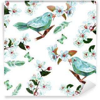 Papier Peint Vinyle Seamless fond à l'aquarelle oiseaux, des fleurs, des plumes et des papillons