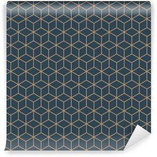 Papier Peint Vinyle Seamless isométrique vecteur cubes motif bleu et brun tan