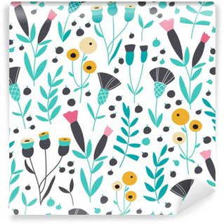 Papier Peint Vinyle Seamless lumineux motif floral scandinave