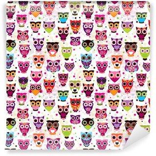 Papier Peint Vinyle Seamless owl colourfull pour les enfants dans le vecteur