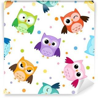 Papier Peint Vinyle Seamless pattern avec des hiboux colorés
