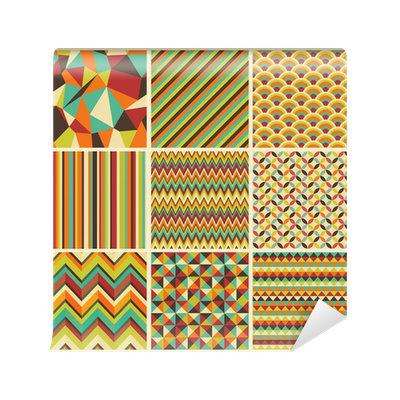 papier peint seamless retro g om trique hippie fond. Black Bedroom Furniture Sets. Home Design Ideas