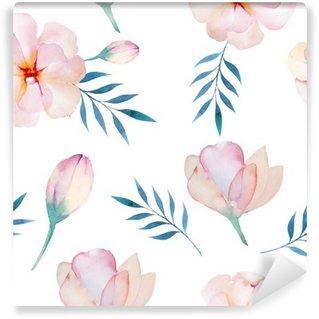 Papier Peint Vinyle Seamless wallpaper avec des fleurs stylisées, aquarelle illustratio