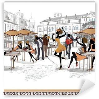 Papier Peint Vinyle Série de vues des rues de la vieille ville avec des cafés