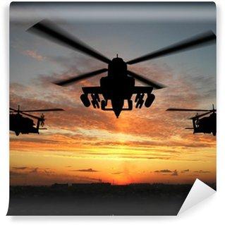 Papier Peint Vinyle Silhouette d'hélicoptère