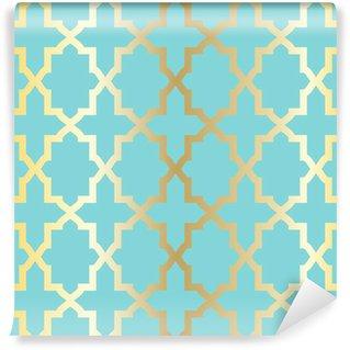 Papier Peint Vinyle Simple motif abstrait arabesque - turquoise et or.