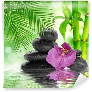 Papier Peint Vinyle Spa de fond - pierres noires et bambou sur l'eau