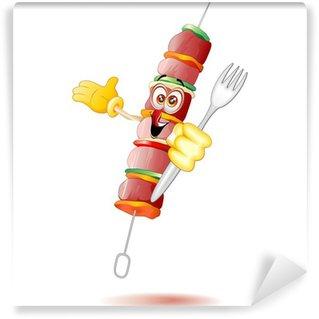 Papier Peint Vinyle Spiedino di Carne Cartoon-viande Brochette Kebab BD-vectorielle