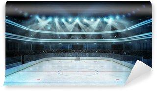 Papier Peint Vinyle Stade de hockey avec les spectateurs et une patinoire vide