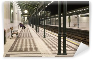 Papier Peint Vinyle Station de métro de Vienne dans la nuit