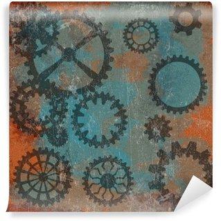 Papier Peint Vinyle Steam punk grunge avec horloge wheels__