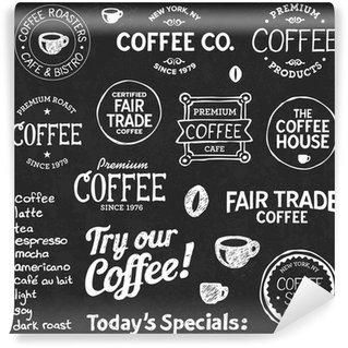 Papier Peint Vinyle Tableau texte Café et symboles