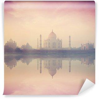 Papier Peint Vinyle Taj Mahal au lever du soleil coucher du soleil, Agra, Inde