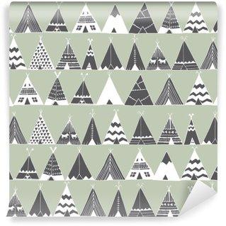 Papier Peint Vinyle Teepee natif américain tente d'été illustration.