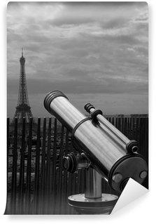 Papier Peint Vinyle Télescope et la Tour Eiffel (noir et blanc)