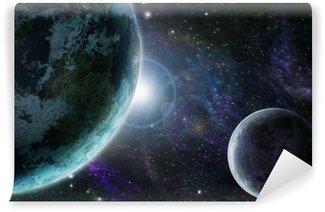 Papier Peint Vinyle Terre planète bleue dans l'espace extra-atmosphérique