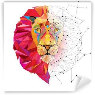 Papier Peint Vinyle Tête de lion en motif géométrique avec le vecteur de ligne étoile