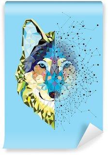 Papier Peint Vinyle Tête Wolf en motif géométrique avec le vecteur de ligne étoile