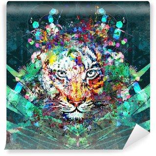 Papier Peint Vinyle Tigre dans la jungle