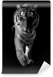 Papier Peint Vinyle Tigre noir et blanc
