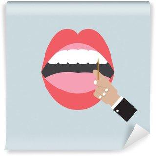 Papier Peint Vinyle Toothpick In Hand Avec Open Mouth Vector Illustration
