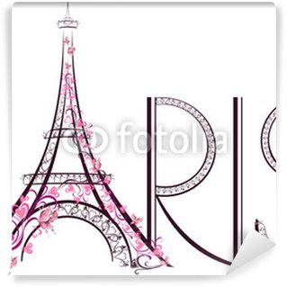 Papier Peint Vinyle Tour Eiffel avec Paris lettrage. Vector illustration