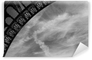 Papier Peint Vinyle Tour eiffel courbe fleuri (noir et blanc)